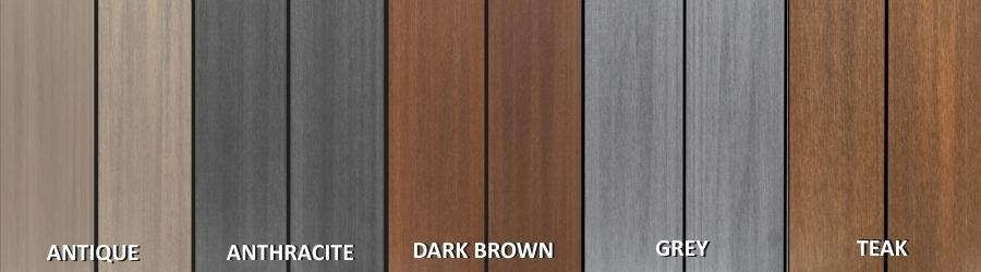 Farebné varianty terasových dosiek S-Board