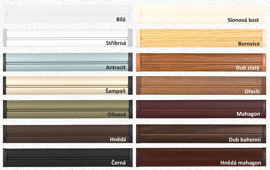 Barevné varianty profilů Plissé žaluzií Cosimo