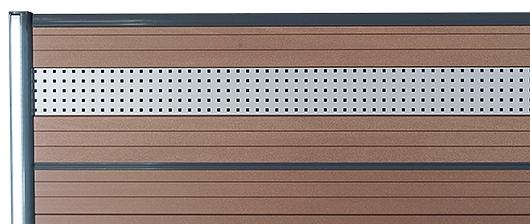 WPC prkna a ocelové dekorace pro ploty