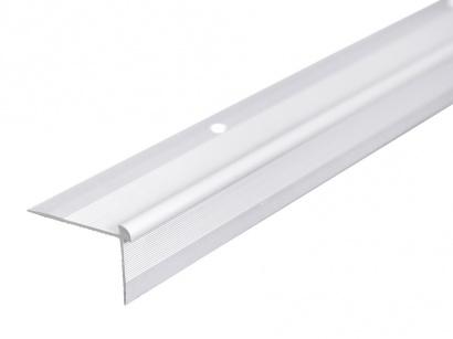Schodová lišta vnější pro obložení schodů podlahou Stříbrná E01